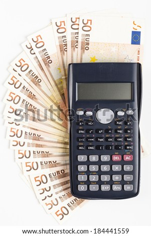 fifty euro banknotes with black calculator - stock photo