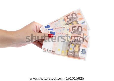 Fifty euro bills in hand as fan. Isolated on a white background.