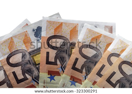 Fifty euro bills isolated on white background by clipping path