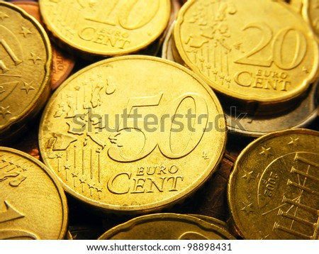 Fifty euro cents. Europe finance system concept. - stock photo