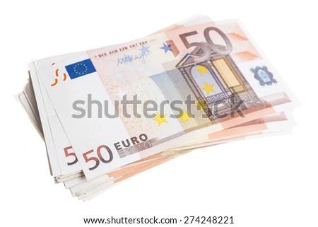 Fifty euro note pile isolated on white background - stock photo