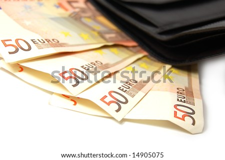 Fifty eurobanknotes in leather black purse isolated on white