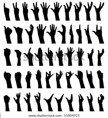 Fifty female hands gesturing black and white silhouettes - stock photo