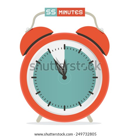 Fifty Five Minutes Stop Watch - Alarm Clock Illustration  - stock photo