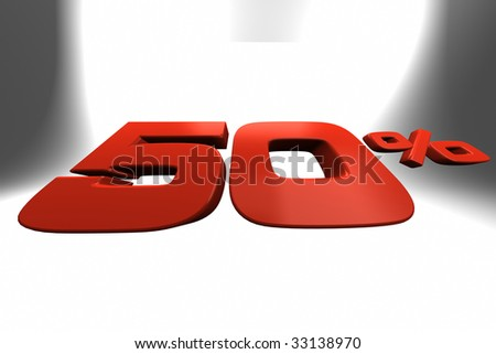 Fifty percent 3D banner ideal for illustrate sale periods. - stock photo
