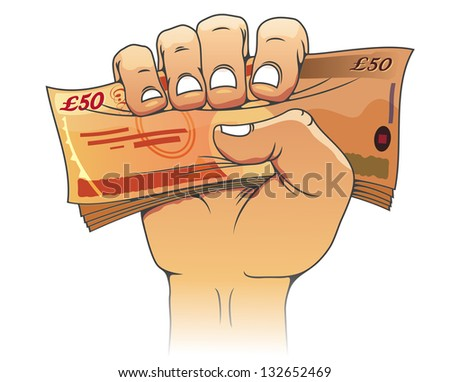 Fifty pounds banknote in people hand for wealth or finance concept. Vector version also available in gallery - stock photo