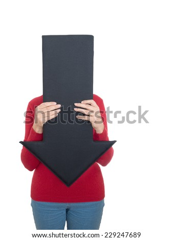 Fifty-something woman hides behind arrow. Health guidance concept. Embarrassing illness, gynaecology etc.  - stock photo