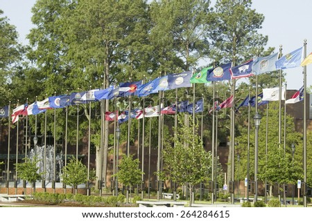 Fifty state flags flying in front of Jamestown Settlement, Jamestown, Virginia - stock photo