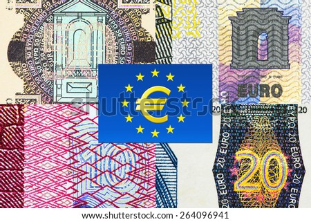 Fifty, twenty, ten and five Euro banknotes macro fragments with euro currency symbol - stock photo