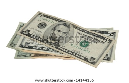 Fifty US dollars in twenties and fives. - stock photo