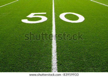 Fifty Yard Line of a Football Field, (Part 1 of 9 Series) - stock photo