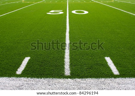 Fifty Yard Line of a Football Field with hashmarks - stock photo