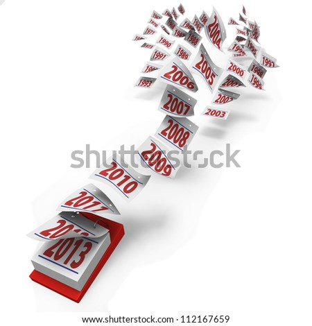 Fifty years from 1964 to 2013 or five decades flying by as a cloud of pages from a calendar on white background - stock photo