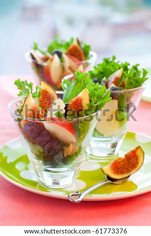 fig and apple salad with blueberries ,blue cheese and walnuts - stock photo