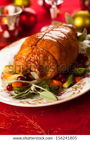 Fig and pistachio stuffed turkey breast - stock photo