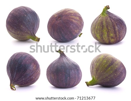 Fig fresh fruit set closeup isolated on white background - stock photo
