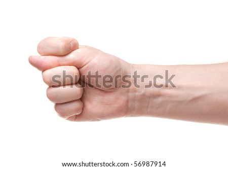 Fig. Gesture of the hand on white background - stock photo