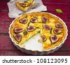 Fig goats cheese tart - stock photo