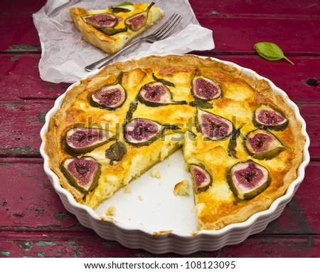 Fig goats cheese tart - stock photo