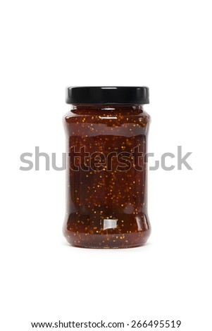 Fig Jam (Spread) on a white background. Selective focus. - stock photo