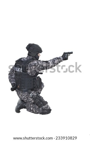 Fight against terrorism, Special Forces soldier, police swat, isolated on white - stock photo