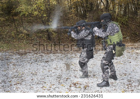 "Fight against terrorism, Special Forces soldier, shooting assault rifles ""sa.vz.58"", police swat - stock photo"