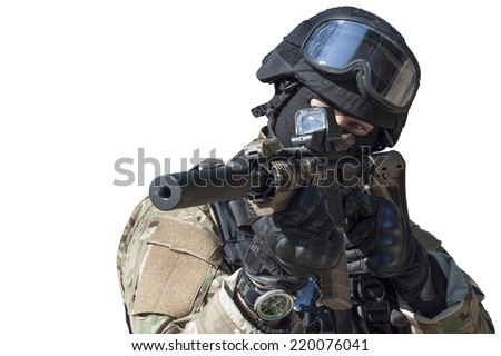Fight against terrorism, Special Forces soldier, with assault rifle, police swat, isolated on white