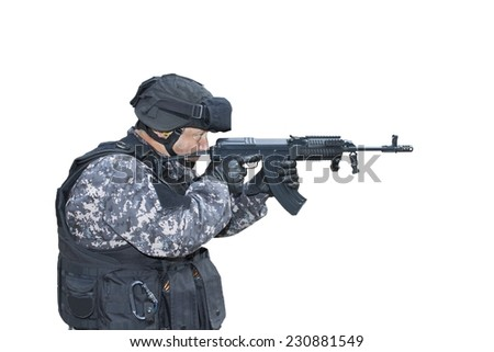 "Fight against terrorism, Special Forces soldier, with assault rifle ""sa.vz.58"", police swat, isolated on white - stock photo"