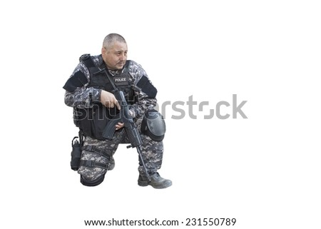 "Fight against terrorism, Special Forces soldier, with Czech assault rifle ""sa.vz.58"" ;, police swat, isolated on white - stock photo"