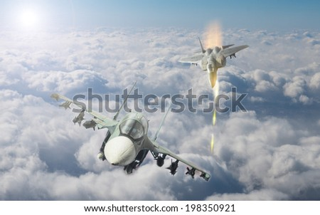 fight between air crafts - stock photo