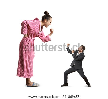 fight between screaming angry woman and small mad man. isolated on white background - stock photo