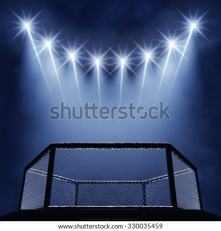 fight cage and spotlights   - stock photo