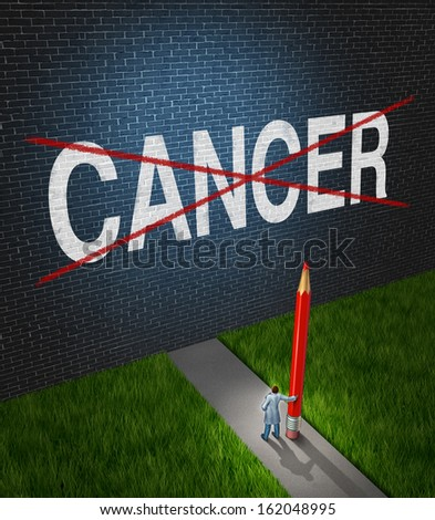 Fight cancer and treatment for cancerous tumors health care symbol with a medical metaphor with a doctor or research scientist holding a red pencil crossing out the disease word on a brick wall. - stock photo