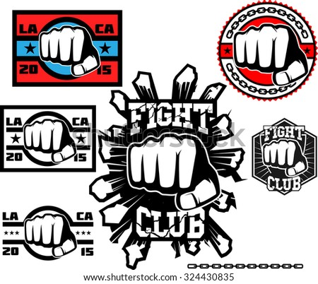 Fight club logo set. Mixed martial arts. Boxing, kickboxing, punch, hit sports logo.