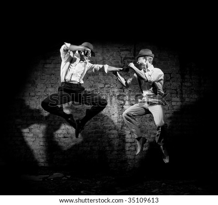 fight of the gangsters - stock photo