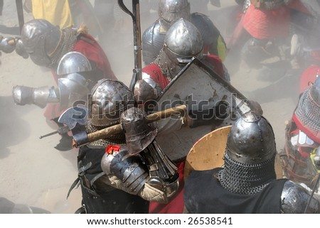 Fight on battlefield - stock photo
