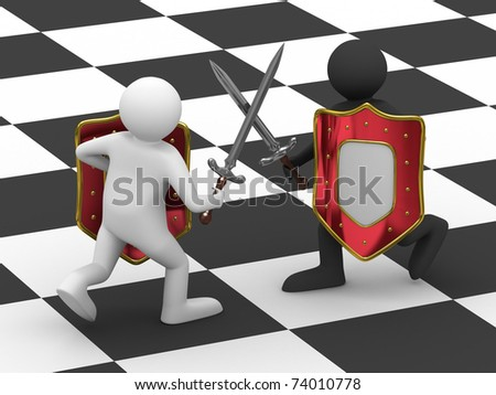 Fight on swords. Isolated 3D image on white background - stock photo