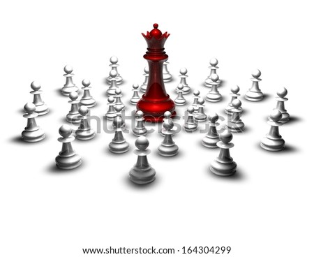 fight, war concept with red chess queen and pawns isolated illustration - stock photo