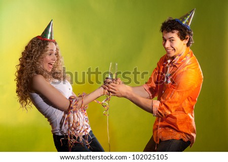fightening couple posing in studio - stock photo