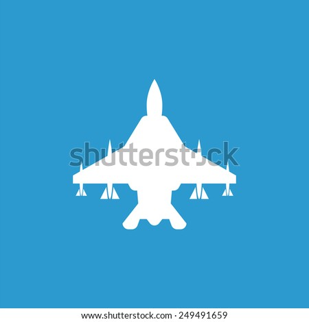 fighter airplane outline icon, isolated, white on the blue background. Exclusive Symbols  - stock photo