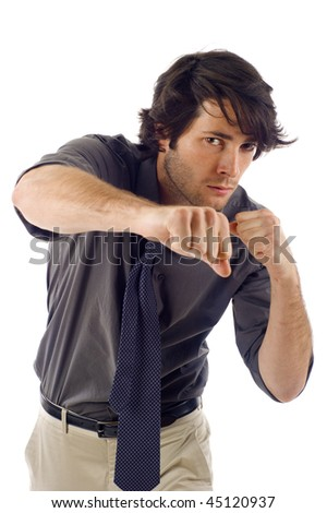 Fighter- Business man punches isolated over white background