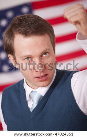 fighter for the rights - politician speech over american flag - stock photo
