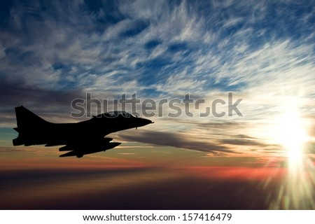 fighter in the air - stock photo