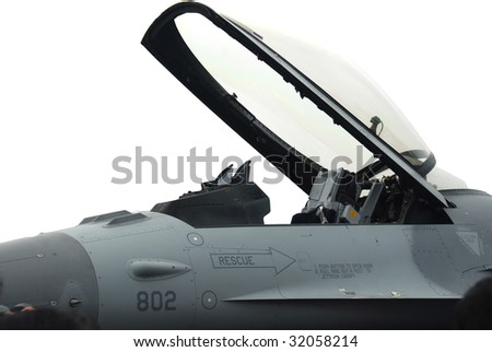 fighter jet cockpit  with cover open on a white background