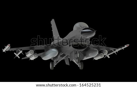 Fighter jet taking off landing isolated on black