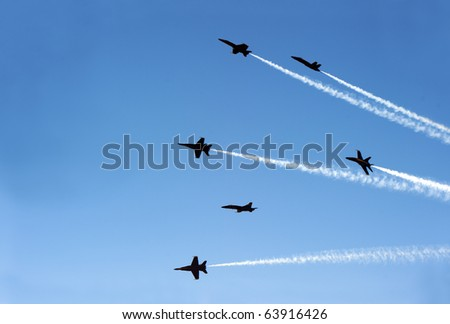 fighter jets like flies - stock photo