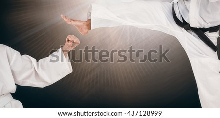 Fighter performing karate stance against spotlights - stock photo
