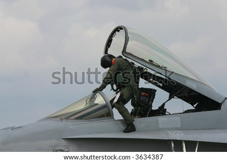 Fighter pilot - stock photo