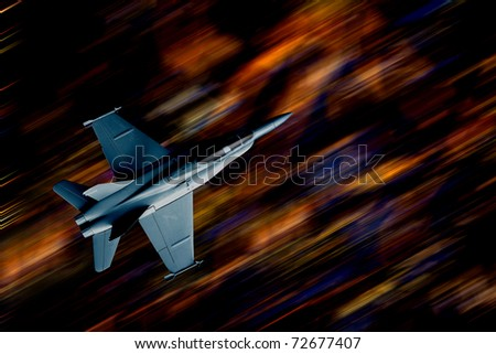 Fighter plane at night - stock photo