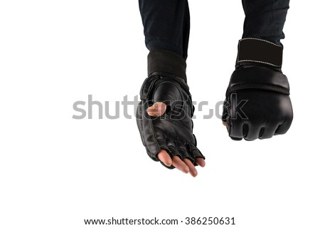 fighter's hand in gloves for martial arts, greeting. space for text. logo - stock photo